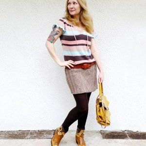Refashioned Vintage Knit Hoodie Dress (M)